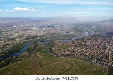 ULAANBAATAR, KAZAKHSTAN -25 AUG 2017- Aerial view of Ulaanbaatar, the capital of Mongolia, near the Chinggis Khaan International Airport (ULN).
