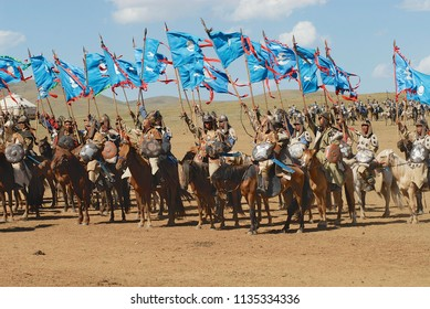 ULAANBAATAR, MONGOLIA - AUGUST 17, 2006: Unidentified Mongolian horse riders take part in the traditional historical show of Genghis Khan era in Ulaanbaatar, Mongolia.