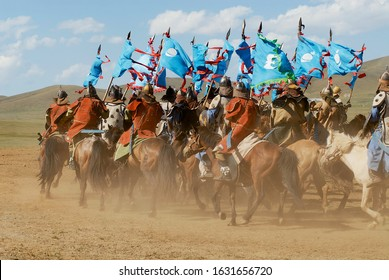 Ulaanbaatar, Mongolia - August 17, 2006: Mongolian horse riders take part in the traditional historical show of Genghis Khan era in Ulaanbaatar, Mongolia.