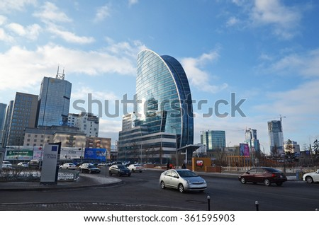 Ulaanbaatar, Mongolia - Dec, 03 2015: New modern buildings on central square of Ulaanbaatar, Mongolia