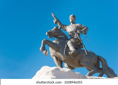 ULAANBAATAR, MONGOLIA - Jul 07 2017: Sukhbaatar Statue at Sukhbaatar Square (Chinggis Square). a famous Tourist spot in Ulaanbaatar, Mongolia.