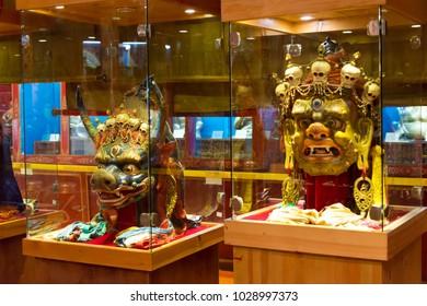ULAANBAATAR, MONGOLIA - Jul 07 2017: Cham dance masks at Choijin Lama Temple. a famous Tourist spot in Ulaanbaatar, Mongolia.