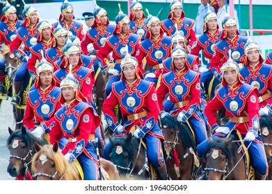 ULAANBAATAR, MONGOLIA - JULY 11, 2010: Rider display at Nadaam Opening Ceremony. Nadaam, the most important festival of the year, includes competitions in horse racing, wrestling and archery.