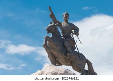 ULAANBAATAR, MONGOLIA - Jun 21 2017: Sukhbaatar Statue at Sukhbaatar Square (Chinggis Square). a famous Tourist spot in Ulaanbaatar, Mongolia.