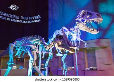 ULAANBAATAR, MONGOLIA - Jun 23 2017: Central Museum of Mongolian Dinosaurs. a famous Tourist spot in Ulaanbaatar, Mongolia.