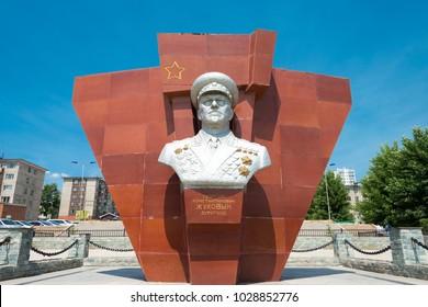 ULAANBAATAR, MONGOLIA - Jun 24 2017: Jukov statue at The Marshall Jukov House Museum in Ulaanbaatar, Mongolia. Georgy Zhukov (1896 -1974) was a Soviet Red Army Marshall.