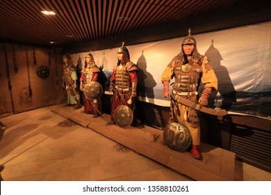 Ulaanbaatar, Mongolia March 2019: Tourist can walk see museum in Genghis khan equestrian statue  show  a story of Genghis Khan Mongolian warrior