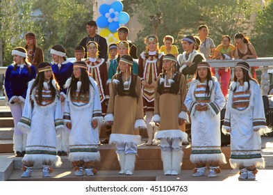 ULAN UDE, RUSSIA - JULY 17, 2015:girls are performing at festival of small peoples of the North in Ulan Ude, Russia
