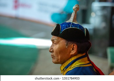 Ulannbaatar, Mongolia, 27th September 2015: Mongolian man in a traditional clothing and hat