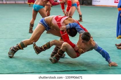 Ulannbaatar, Mongolia, 27th September 2015: mongolian wrestlers wrestling