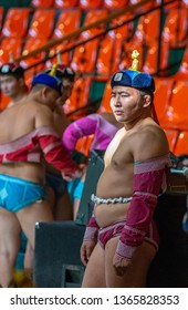 Ulannbaatar, Mongolia, 27th September 2015: mongolian wrestler in his traditional wrestling outfit