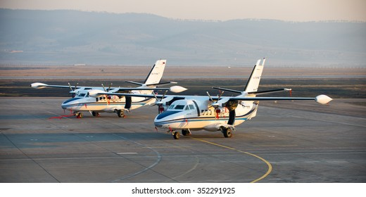 Ulan-Ude, Russia - April 22, 2014: New white Let 410 airplane parked at the airport Baikal.