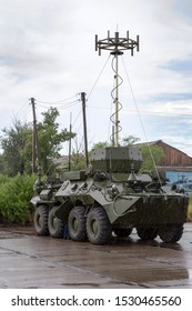 Ulan-Ude, Russia, June 28, 2019. Exhibition of military equipment in the framework of the military-technical forum Army-2019.  Multifunctional complex of radio reconnaissance and electronic suppressi