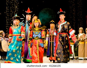 ULAN-UDE, RUSSIA - OCTOBER 29: Asian models demonstrate costumes in ethnic style at the international asian fashion festival on October 29, 2009 in Ulan-Ude, Buryatia, Russia.