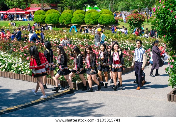 Ulasan, South Korea – May 2018 : Many tourists traveling Rose festival in Ulsan Grand Park, Ulsan South Korea on May 19, 2018
