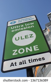 ULEZ, London, UK - April 9 2019: ULEZ (Ultra low emission zone) charge London Ultra Low Emission Zone (ULEZ) warning sign central London £12.50 from 8th april - stock photo photograph image picture