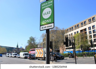 ULEZ London, UK - April 9 2019: ULEZ (Ultra low emission zone) London prepare Ultra Low Emission Zone (ULEZ) sign central London.TFL stock, photo, photograph, image, picture press