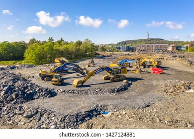 Ullandhaug, Stavanger / Norway - June 10 2019 Photo of heavy machinery in construction process of new hospital in Ullandhaug, Stavanger.