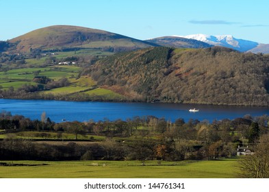 Ullswater steamer travelling towards Pooley Bridge in the Lake District National Park Cumbria England