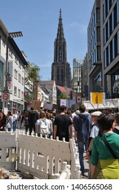 Ulm, BW, Germany-May 24, 2019: school strike for climate, demonstration in pedestrian zone