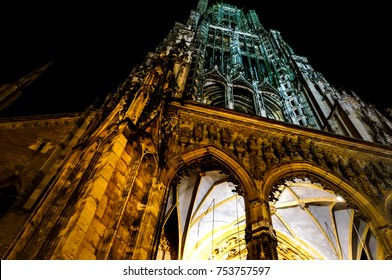 ULM,GERMANY- NOVEMBER 27,2013 :Bottom up and nightview of Ulm Cathedral (the highest church tower in the world) Germany. Selective Focus