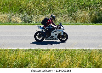ULM,GERMANY-JULY 01,2018:unknown rider on the route.