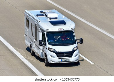 ULM,GERMANY-March 30,2019: caravan on the route.