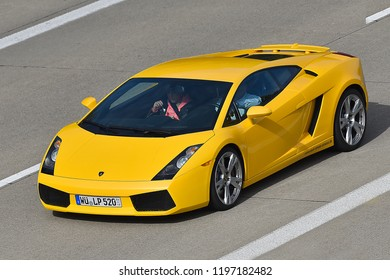 ULM,GERMANY-OCTOBER 06,2018:LAMBORGHINI on the route A7.