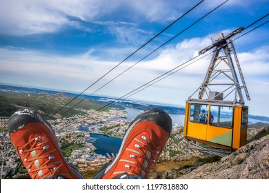 Ulriken cable railway with hiking boots in Bergen, Norway.