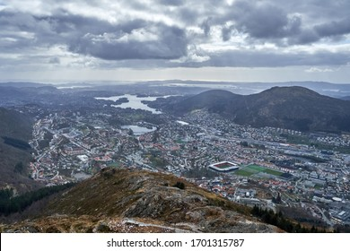 Ulriken is the highest of the seven mountains surrounding Bergen, Norway