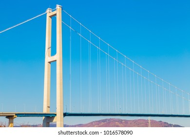 Ulsan harbor bridge with blue sky in Ulsan, Korea
