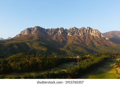 Ulsanbawi at autumn. Ulsanbawi is a rock with 6 peaks. It is situated in Seoraksan National Park in Sokcho, Gangwon Province, South Korea.