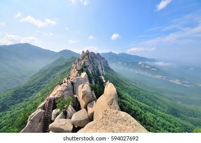 Ulsanbawi Rock is a rock formation in the Seoraksan national park, Korea, June 2016