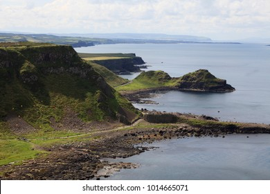 Ulster (Ireland), - July 20, 2016: Port Noffer at the Giant's Causeway on the north coast of County Antrim, Northern Ireland, UK