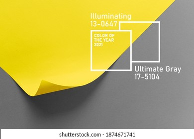 Ultimate Grey and Illuminating colors of the year 2021. Color trend palette. Stylish background