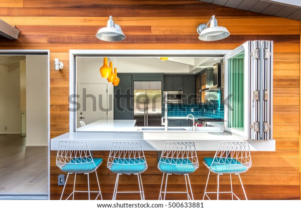 Ultimate Indooroutdoor Space Custom Bar Kitchen Stock Photo Edit