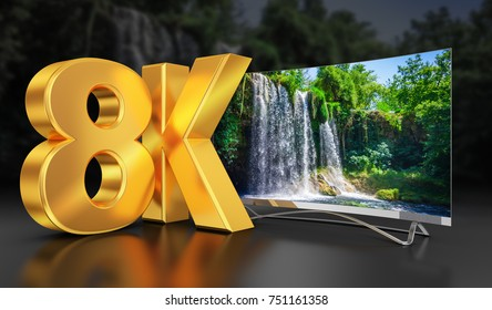 Ultra HD TV with a view of the beautiful waterfall, 3D-rendering. The reference image from my portfolio: 672015619
