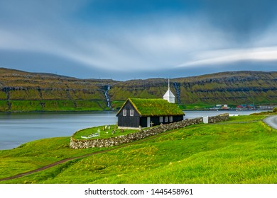 Ultra long exposure of black wooden church of Kaldbak, Kaldbak Kirkja, on Streymoy island, Faroe Islands