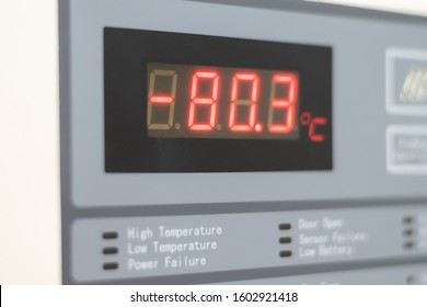 Ultra low temperature -80 degree celsius freezer for keeping specimens for laboratory testing in hospital.Front of digital refrigerator storage blood from patient for research in university