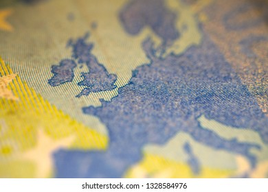 Ultra Macro, Close Up of 20 Euro Bank Note, Focus on Continental Europe
