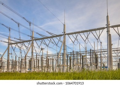 Ultra modern high voltage transformation power station for electrical Industry with several transformers and isolators