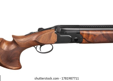An ultra modern sporting double-barreled shotgun for trap shooting. Classic weapon with futuristic design isolate on white background.