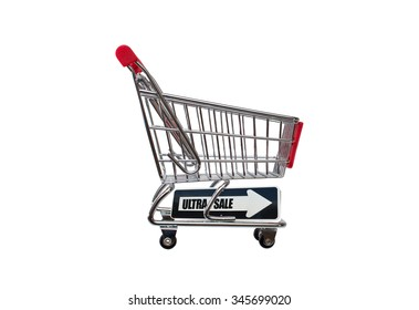 Ultra Sale directional arrow on empty shopping cart isolated on white background