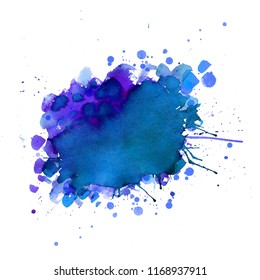 Ultra violet. Abstract paint spots on white background. Color watercolor stains and blots.