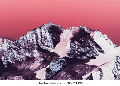 Ultra violet color mountains in the alps switzerland