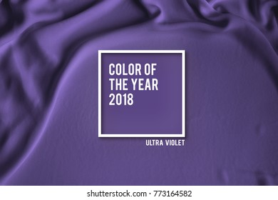 Ultra Violet color on cloth or textile with frame and wording color of the year 2018 : Ultra Violet. Illustration for your design that represent to trendy color of 2018 in several concept and occasion