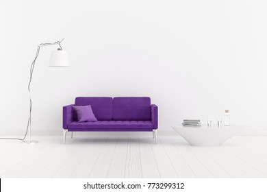 Ultra violet. The color of the year 2018. The interior room with a ultra violet sofa, a large lamp and a table. 3d illustration.