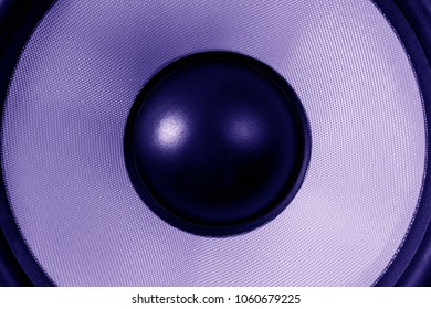 Ultra violet Subwoofer dynamic or sound speaker, music and party background, dark purple toned