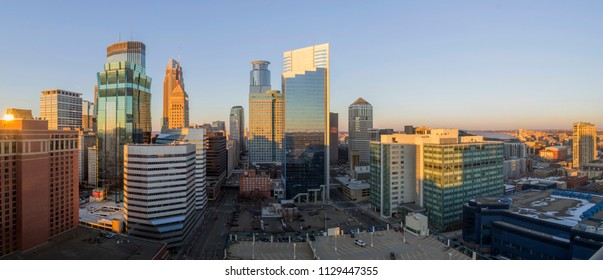 An Ultra Wide Angle Panoramic Shot of Sprawling Downtown Minneapolis during a Spring Golden Hour