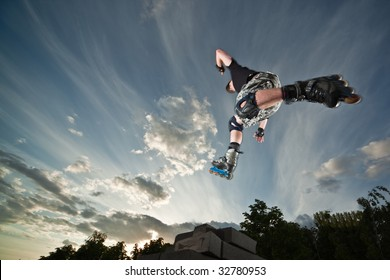Ultra wide angle photo of a flying rollerskater - photo with a little natural motion blur